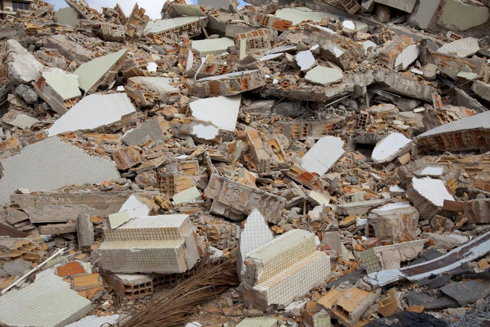 Construction and demolition waste pile