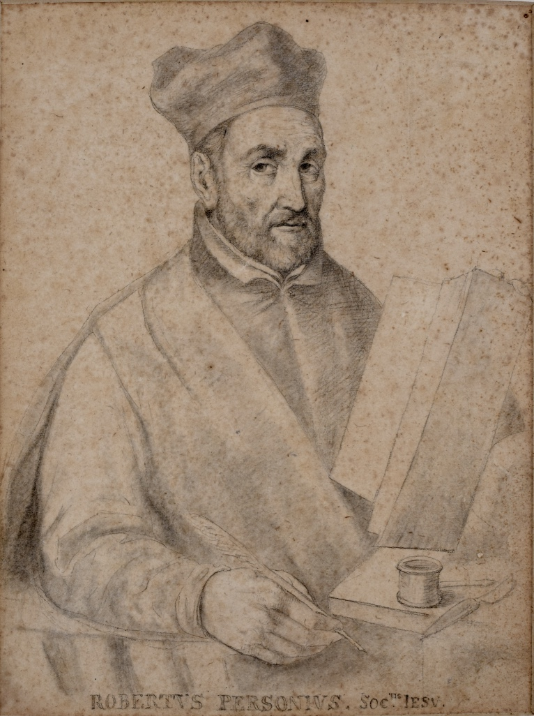 Pencil sketch of a bearded man wearing a biretta sat holding a quill in his right hand and what appears to be a book propped up in front of him. Inscription is: Robertus Personius. Soc. Iesu.