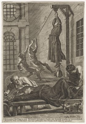Picture of two men pulling a man up by his bound hands to hang from a beam. An outstretched man is being bound to a table by two other men.