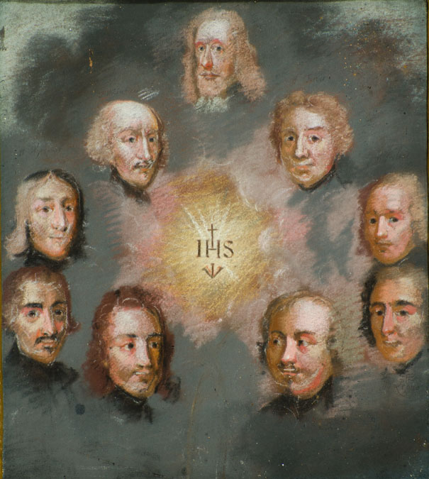 Pastel drawing of the faces of 9 white men in a circle around sun, bursting through cloud, with the initials I H S at the centre