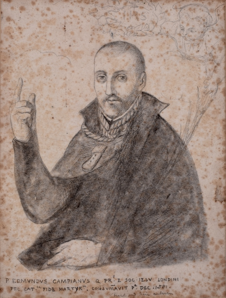 Pencil sketch of a young man with a rope around his neck and a knife sticking in his chest. His right index finger is pointing up, his left arm rests in front. Inscription is: Edmundus Campianus.