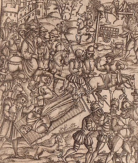 Picture of a man bound to a hurdle which is being pulled by a horse towards a hanging scaffold being erected. Soldiers and crowds of men, some on foot others on horses, gathered all around him.