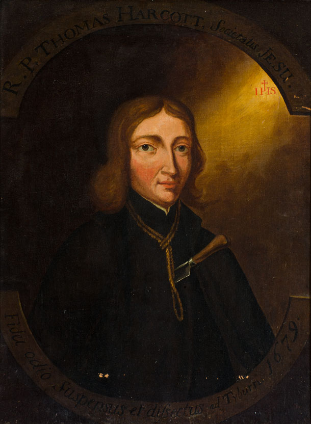 Portrait of a young white man with shoulder length brown hair, a rope around his neck and a knife in his chest. Above him is an arc with inscription R P Thomas Harcott Societatis Jesu.