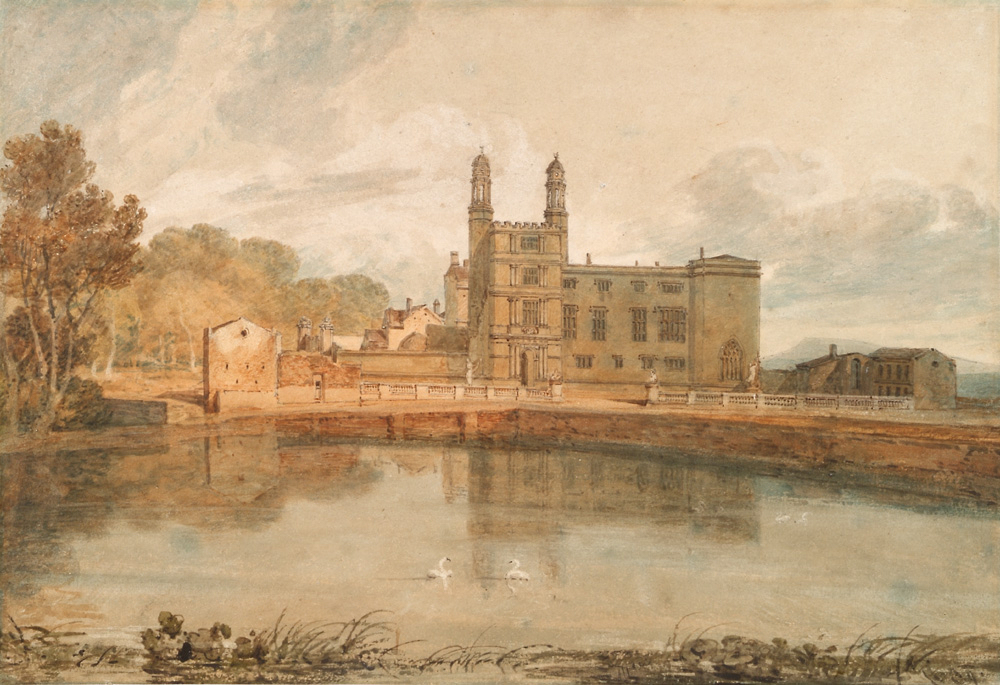 Watercolour painting showing a grand looking building behind a lake reflecting it and with trees surrounding it. There are two swans on the lake.