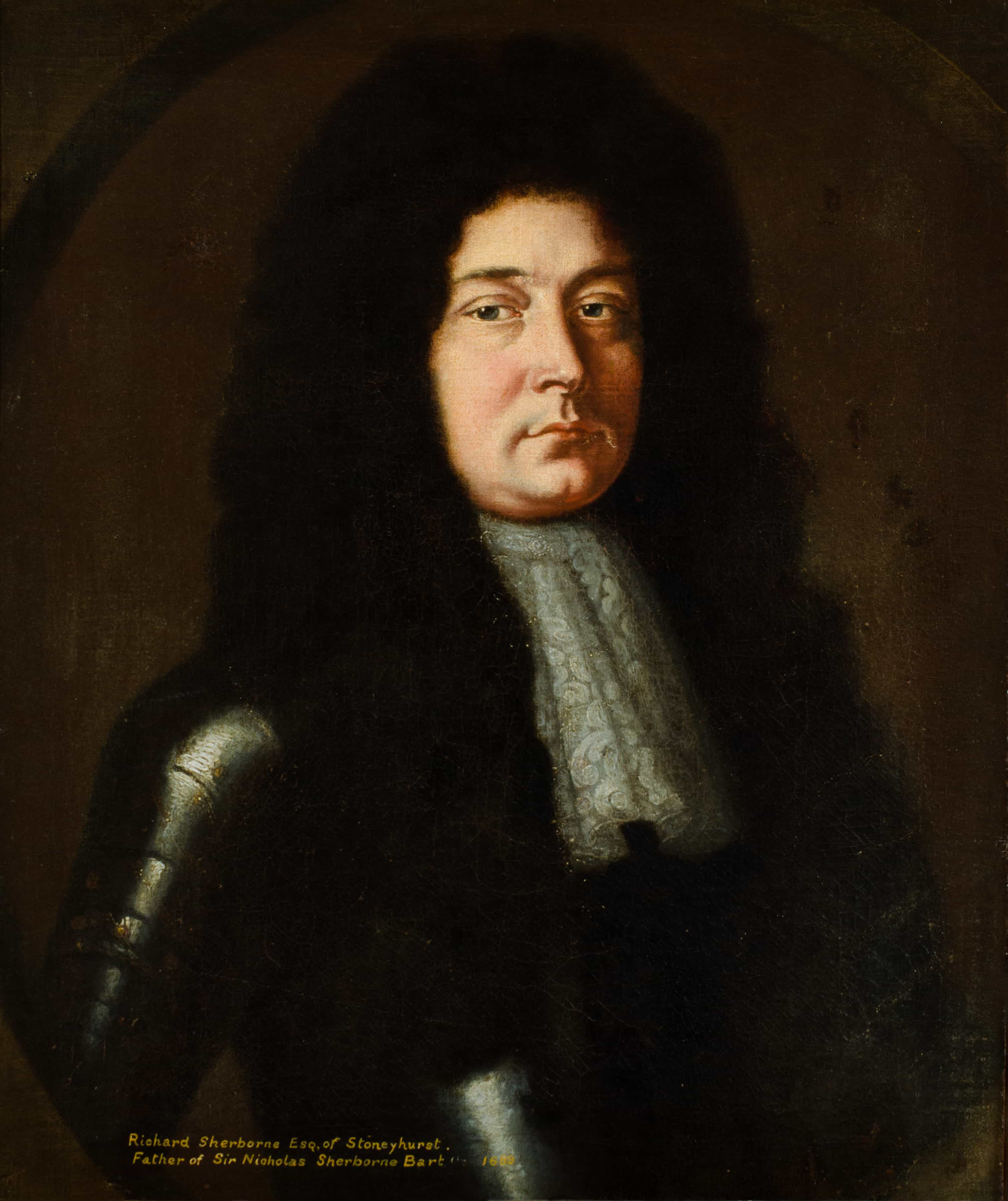 Bust portrait of a young white man in shiny black armour, with a lacy white neckerchief. He appears to have a long black wig. He looks directly at viewer unsmiling. Inscription: Richard Sherborne.