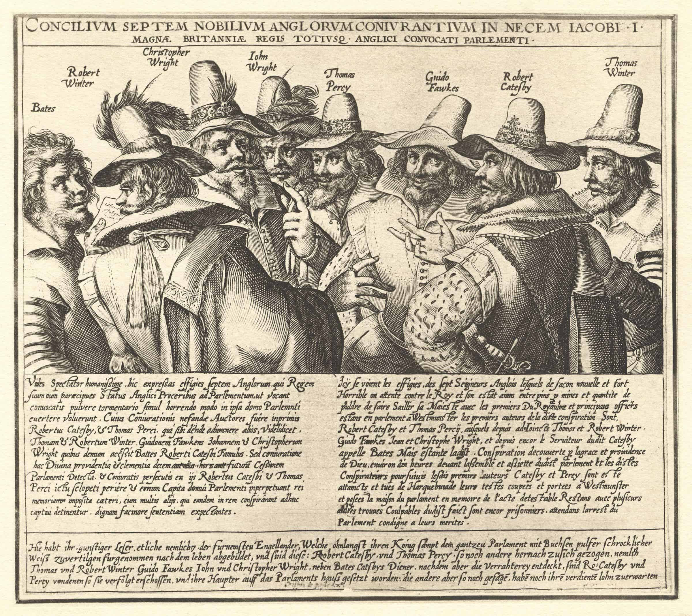 An engraving of a group of 8 men, talking, wearing 17th century clothing. There is text in Latin underneath