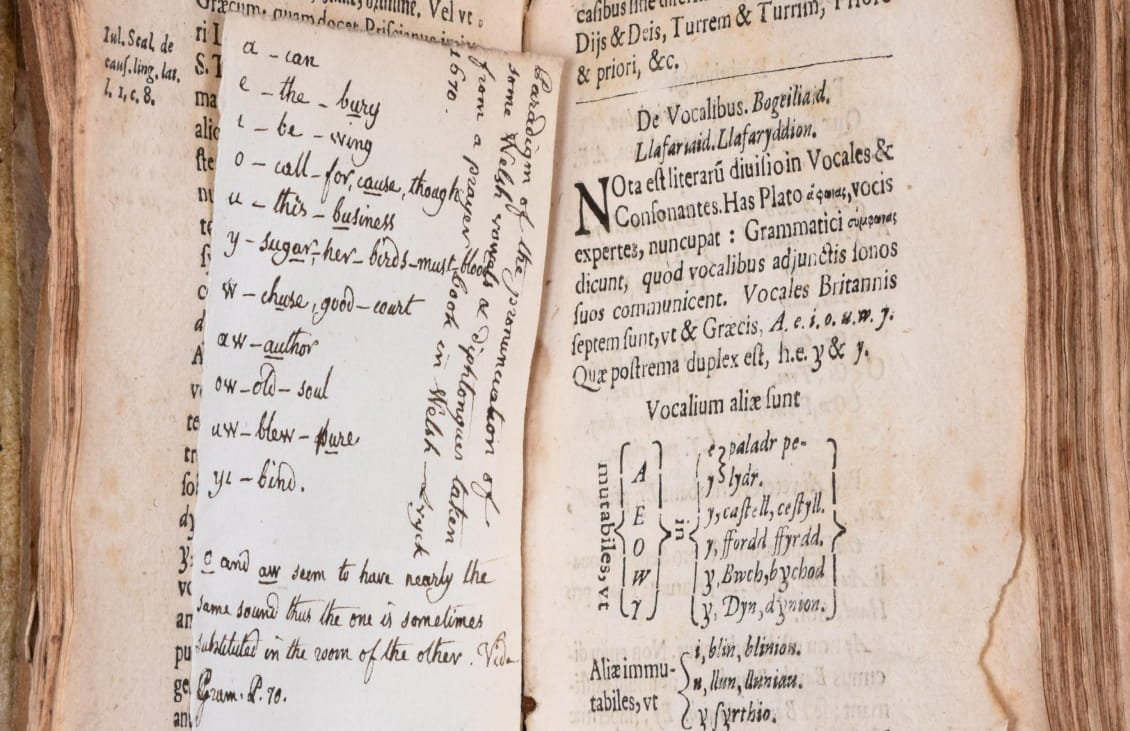 Open book with a loose sheet of paper inserted on the left hand side with a handwritten vocabulary list in English and Welsh. There is text in Latin on the right hand page