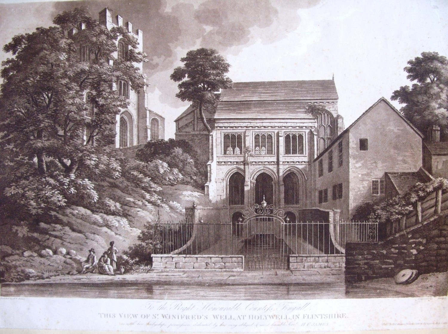 An engraving of a building set behind railings. Between the railings and the building is   rectangular pool. To its left is a church-like building obscured by trees. There is a group of three figures by a body of water at the bottom of the picture, two are seated while one stands and looks up to the main building