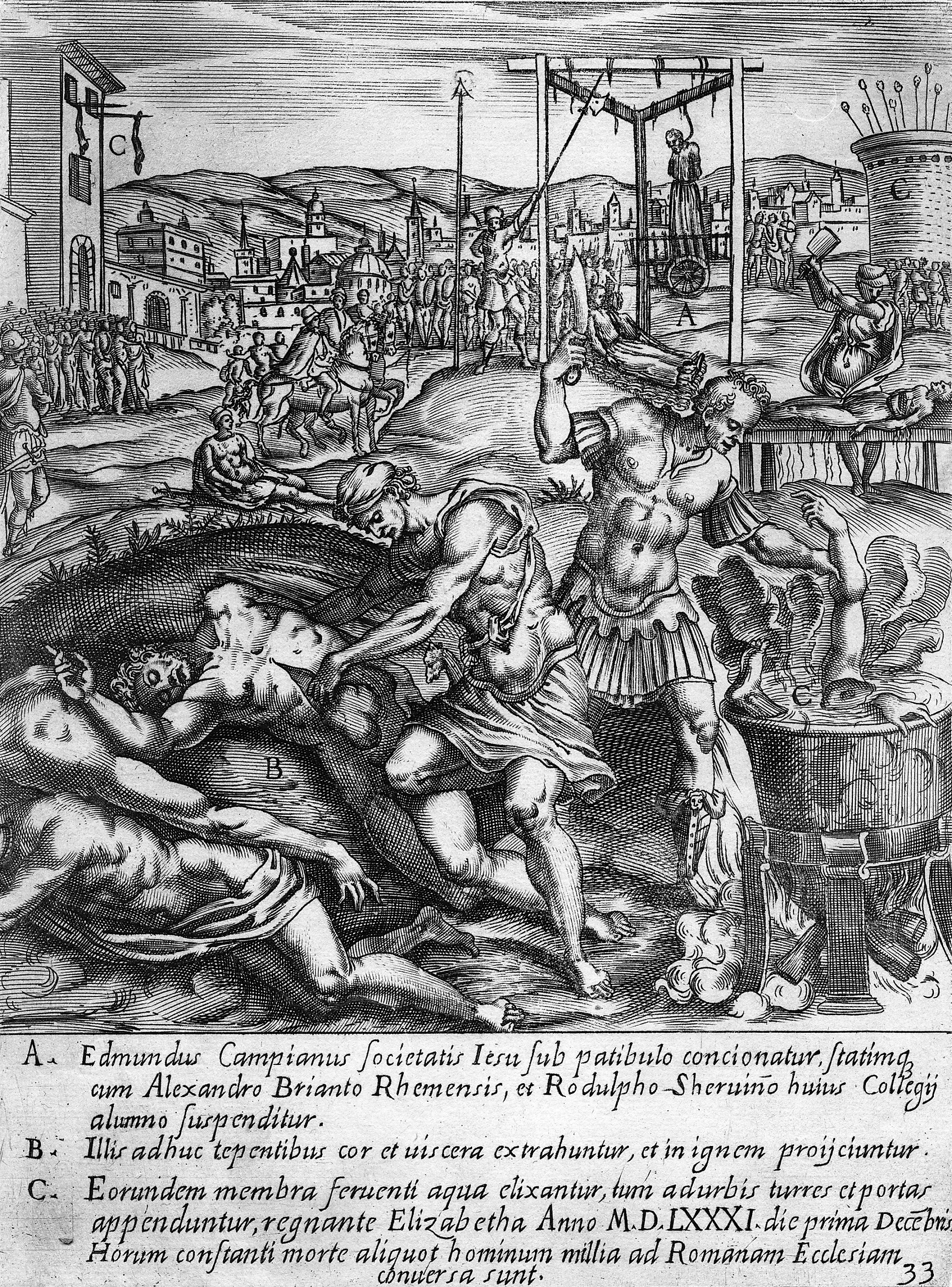 Picture of bodies being cut apart and organs pulled out, while another person is hanging from the scaffold behind. There are crowds of onlookers and buildings around the edges.