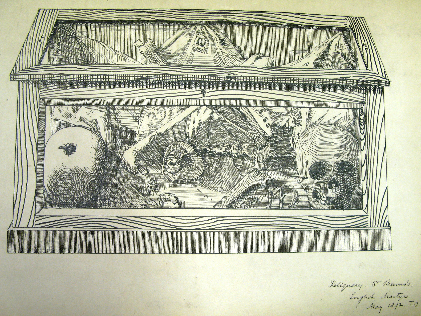 Ink drawing of a box with clear lid and front. There are two skulls in the box and various bones. There is fabric pinned to the back of the box