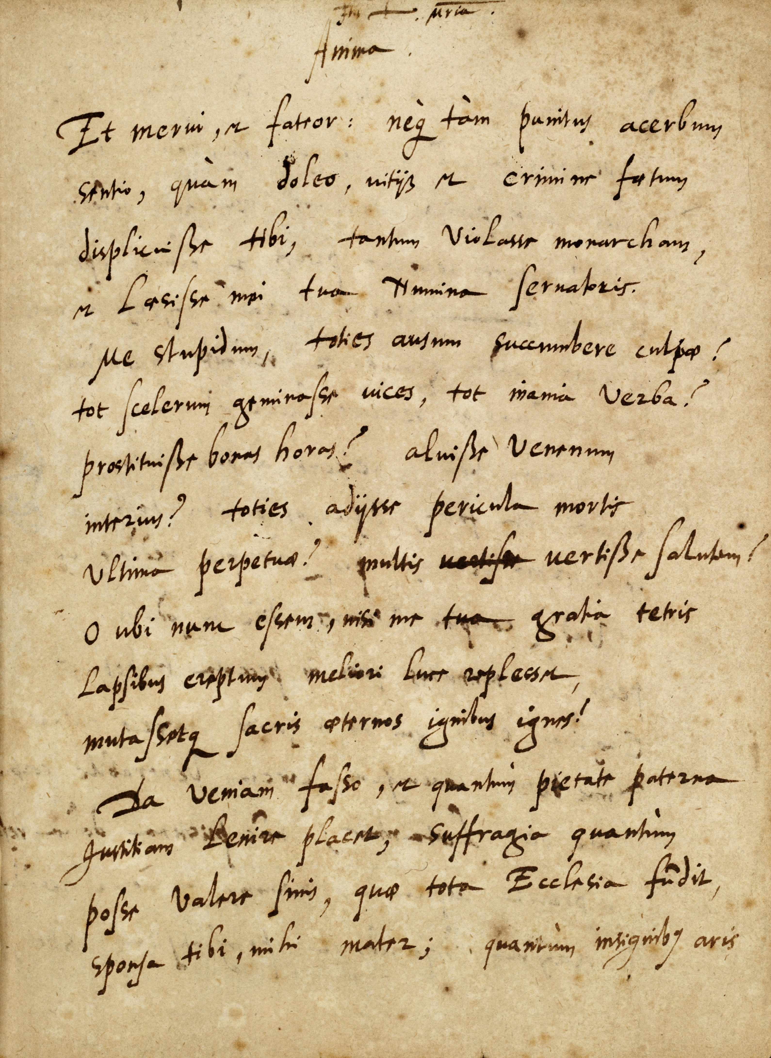 Document in Latin in what seems to be italic style handwriting, using ink that appears dark brown. The parchment has brown foxing.