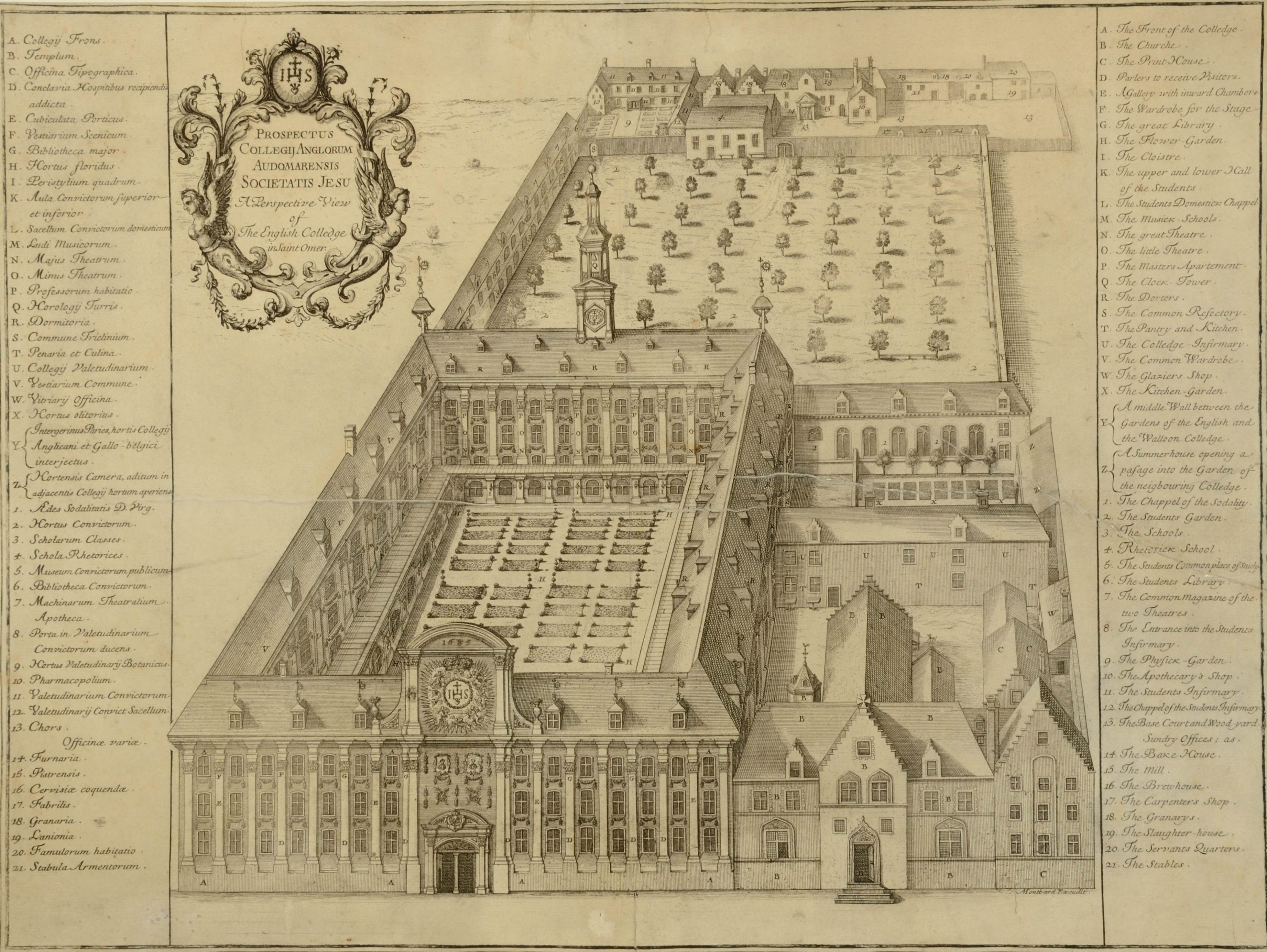 Print picture of a large quadrangle building with large enclosed garden behind as well as other buildings attached at side. Above door in front centre of quadrangle is IHS logo.