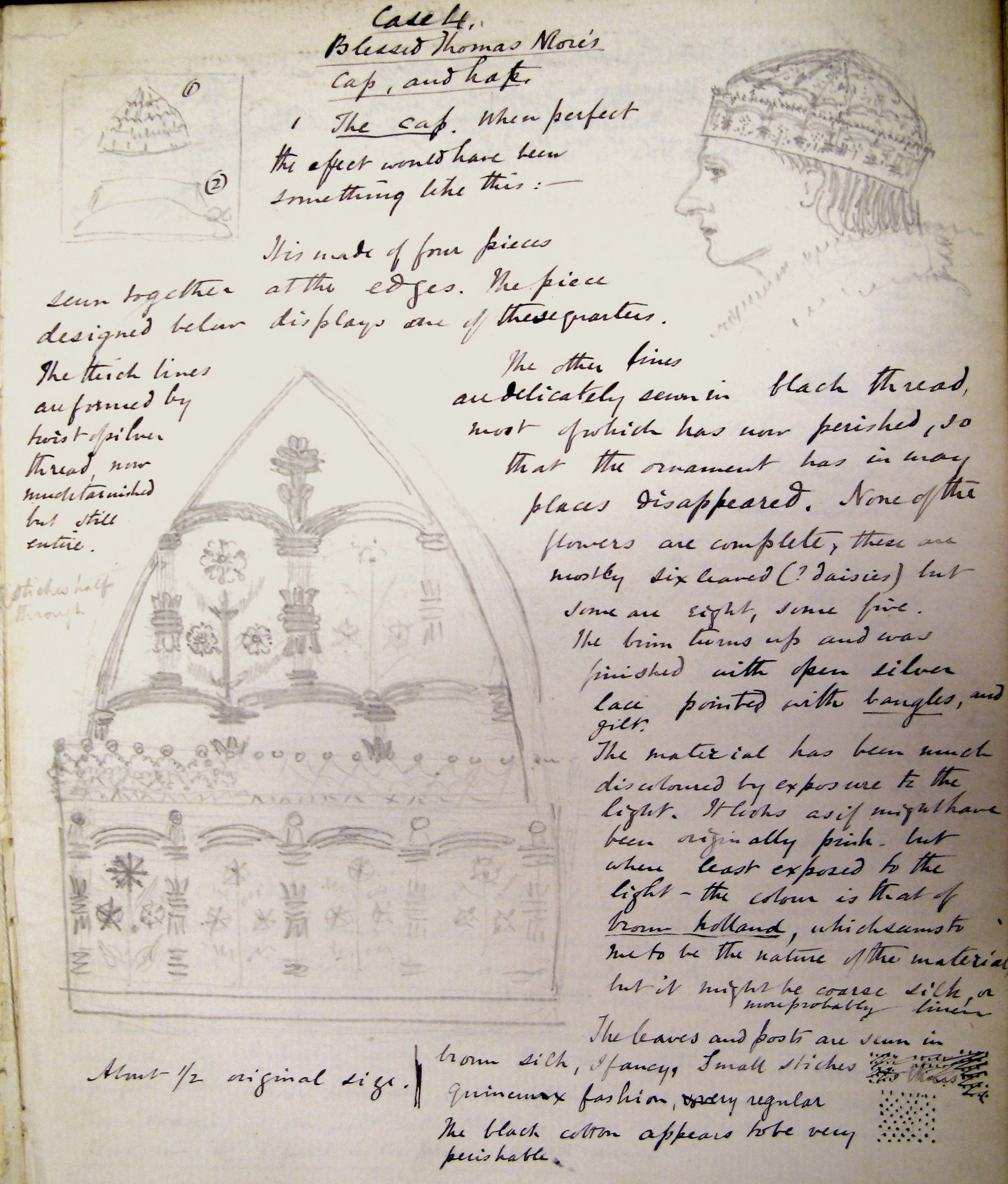 Page of handwritten notes with sketches. The main two sketches are of the detail on the hat at about half original size and another shows a side portrait of a man wearing the hat.