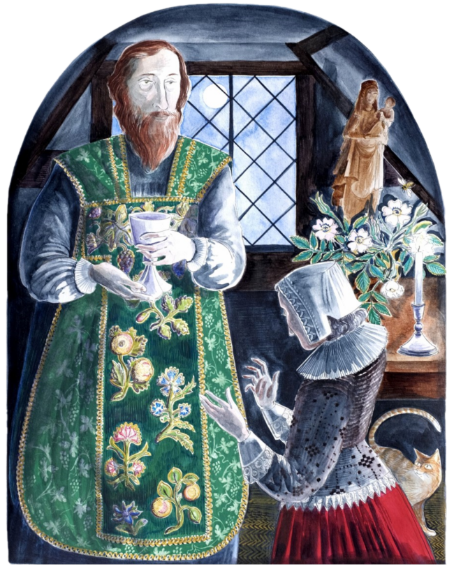 Picture of a bearded white man in an ornate green vestment holding a chalice while a white woman in Elizabethan clothing kneels before him. It appears to be a domestic dwelling with a cat and candle.