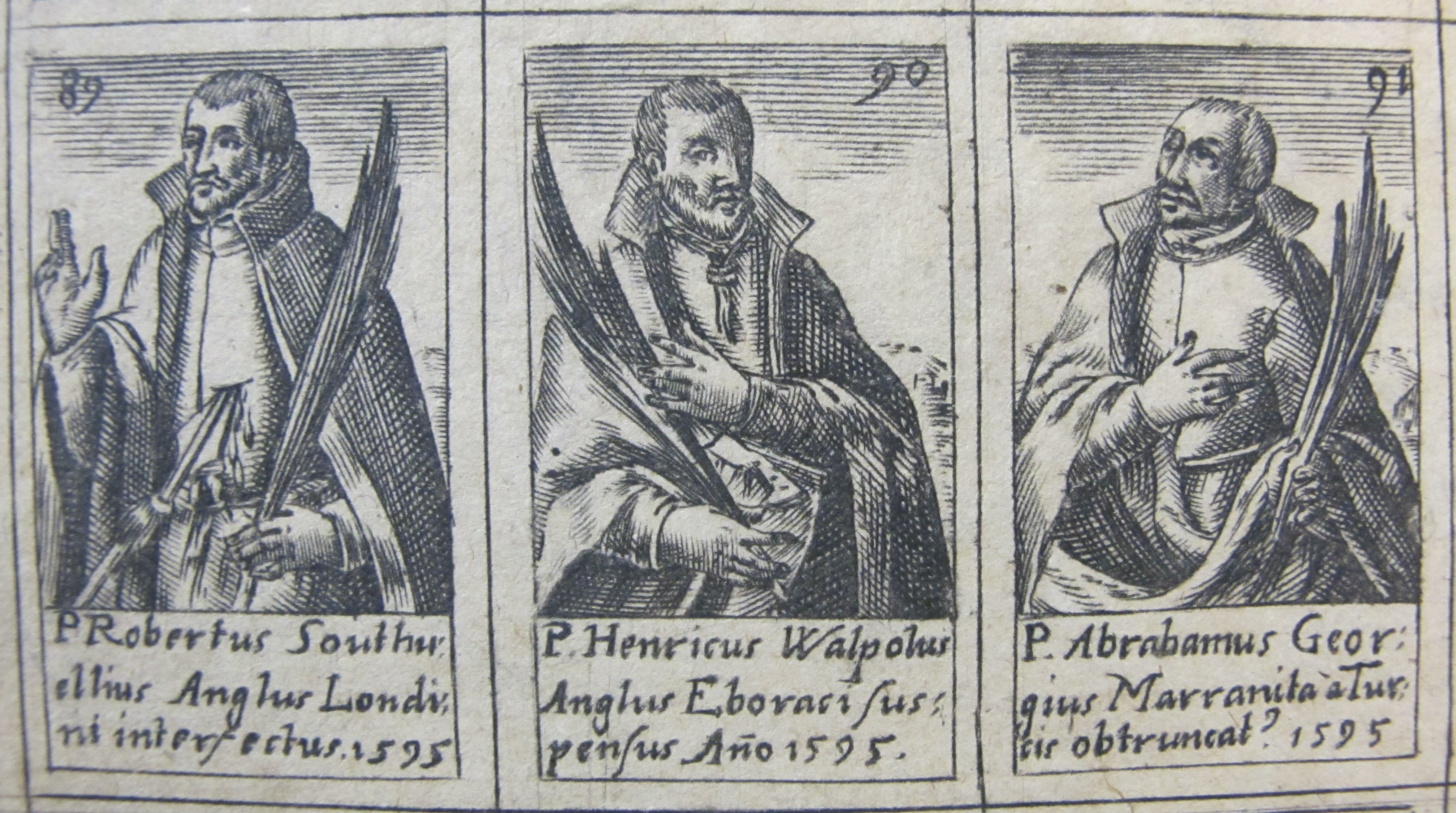 Three portraits of martyrs. Henry Walpole has a rope around his neck and a knife in his abdomen. He holds palm leaves in his right hand while his left hand is covering the right side of his chest