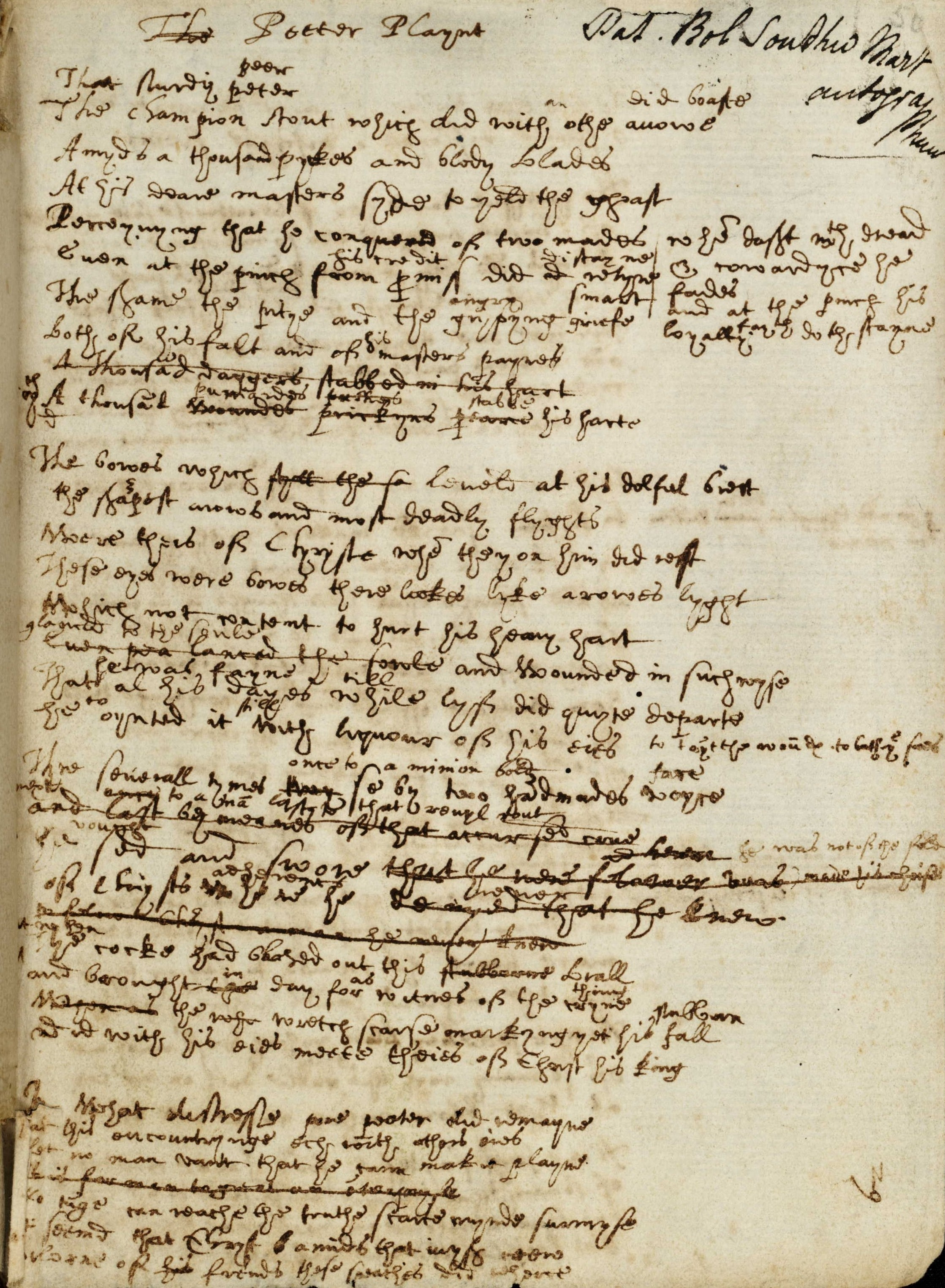 A poem written on paper in ink in Elizabethan Secretary style handwriting. Some words and lines have been crossed out and corrected
