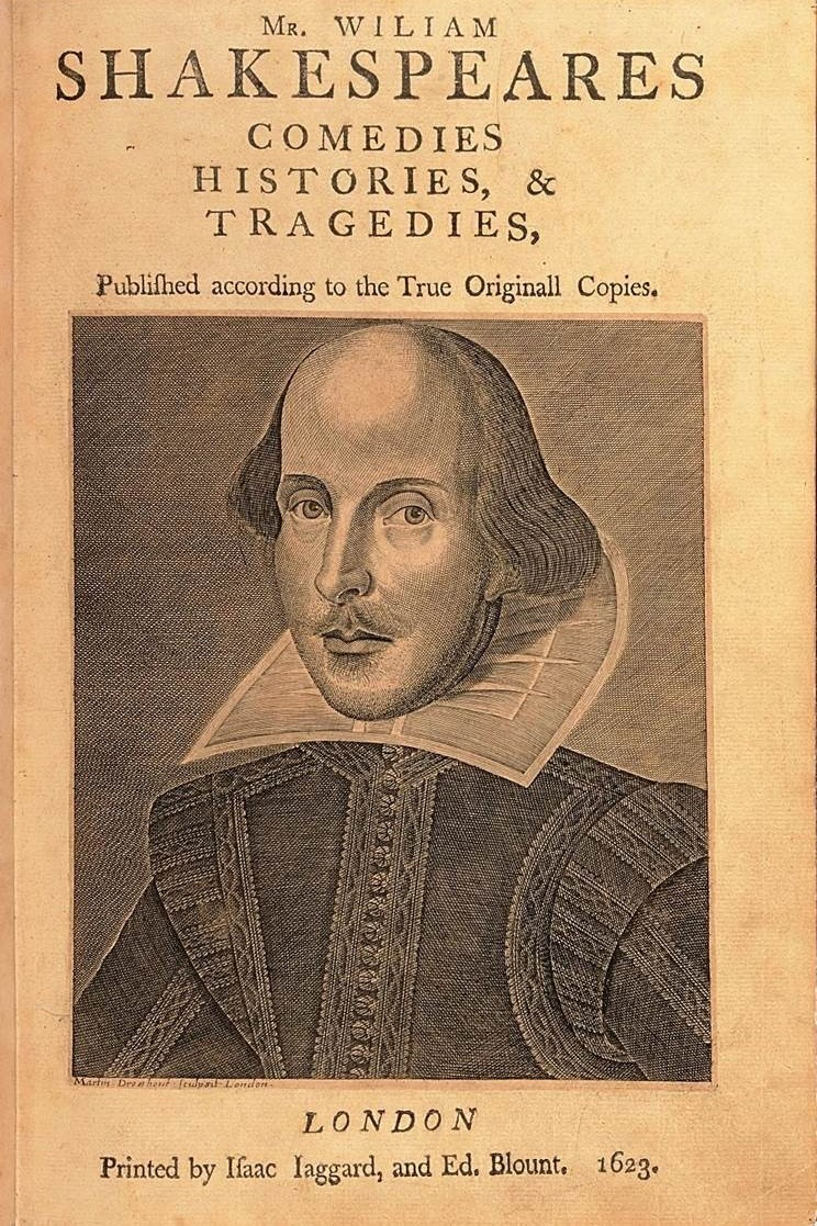 Book cover of William Shakespeare's comedies, histories and tragedies with a portrait of William Shakespeare under the title