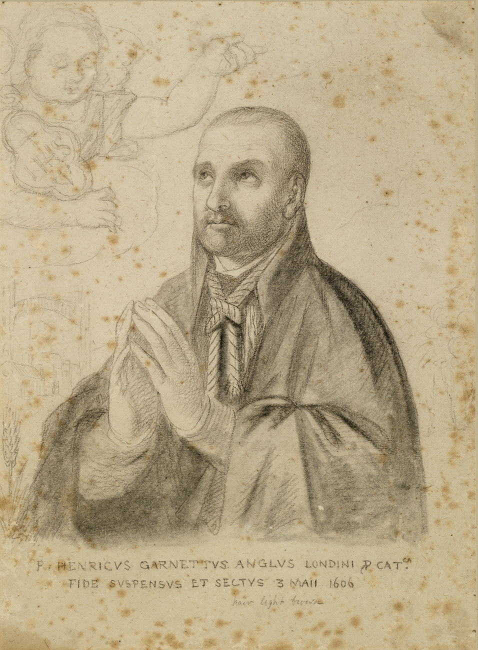 Sketch of a man with hands together in prayer, with a rope around his neck, looking up to an angel