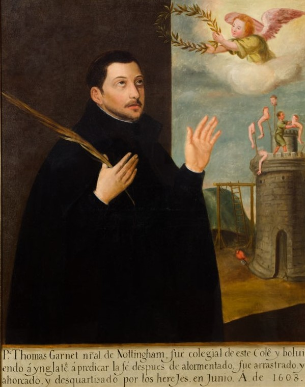 A man in black clothing with hands and eyes raised to an angel. He holds a palm leaf in his right hand. Gallows and the Tower of London are in the background. A figure on top of the tower places body parts on spikes