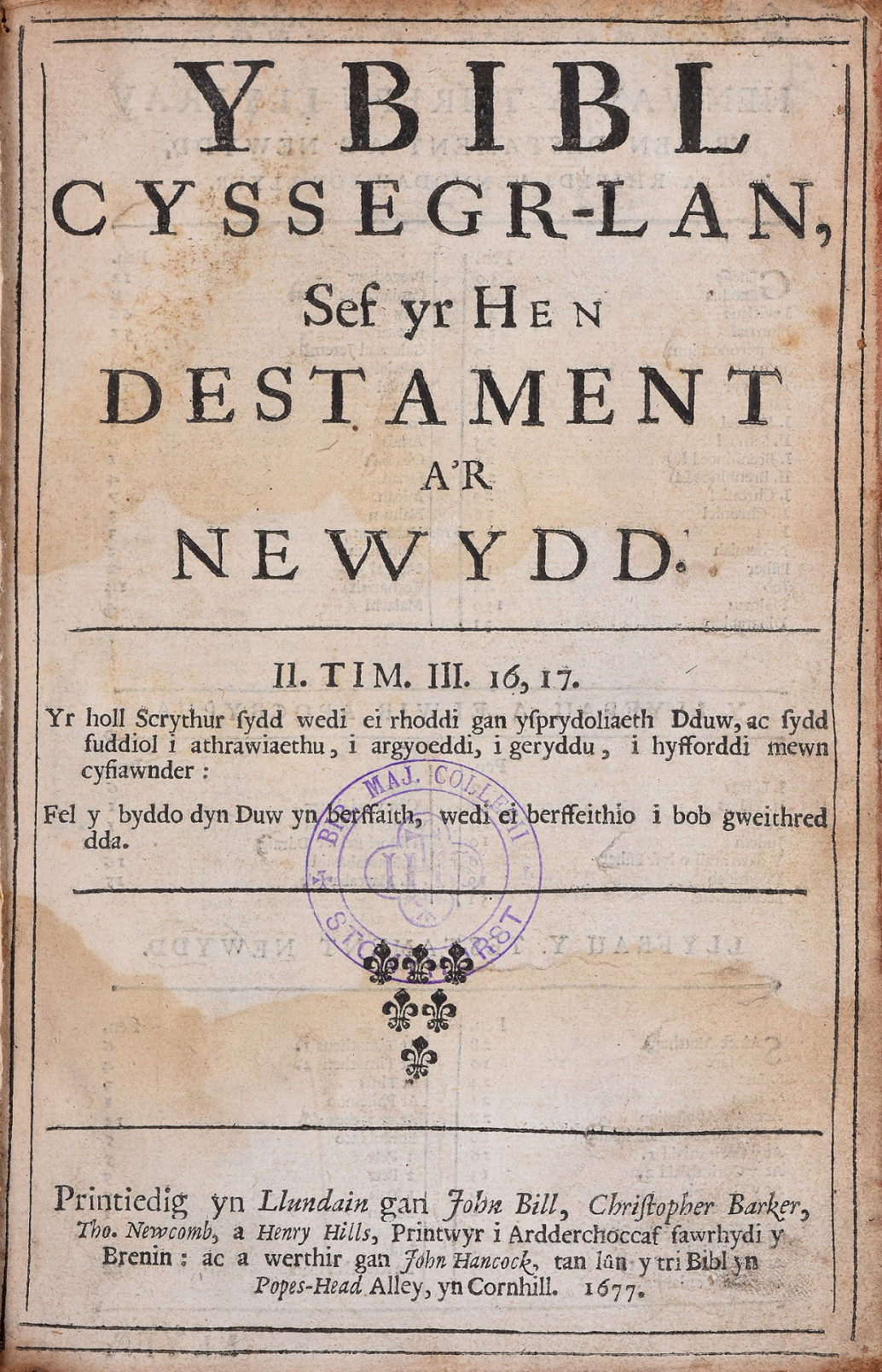 The title page of a Welsh bible