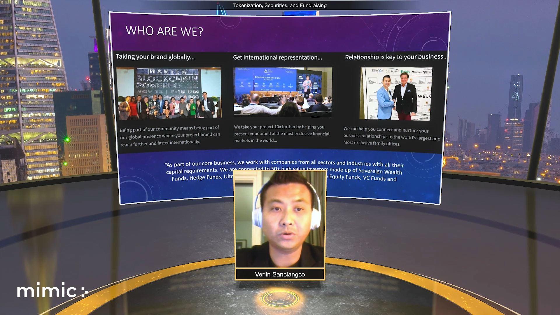 melecoin blockchain technology virtual event speaker with screen