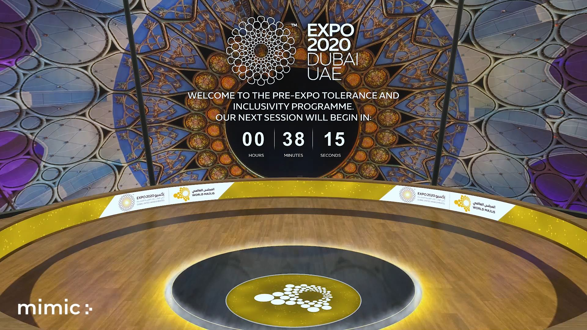 Expo 2020 Virtual event powered by mimic stage and eventagrate - main session event countdown