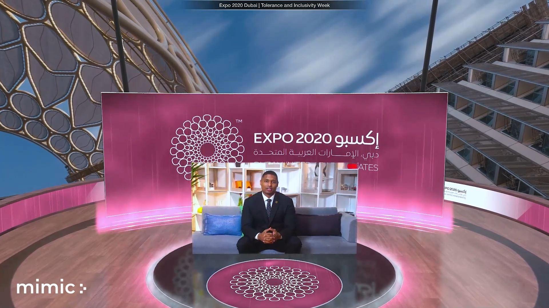 Expo 2020 tolerance and inclusivity Virtual event dual screen