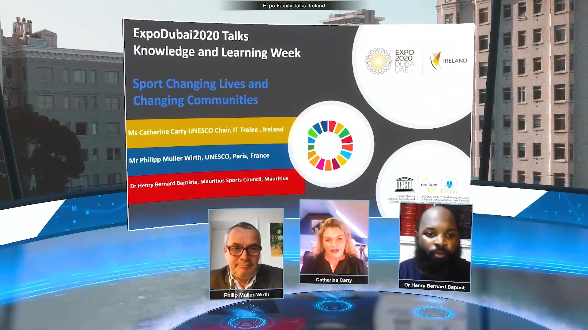 expo 2020 knowledge and learning week virtual event virtual speakers with screen