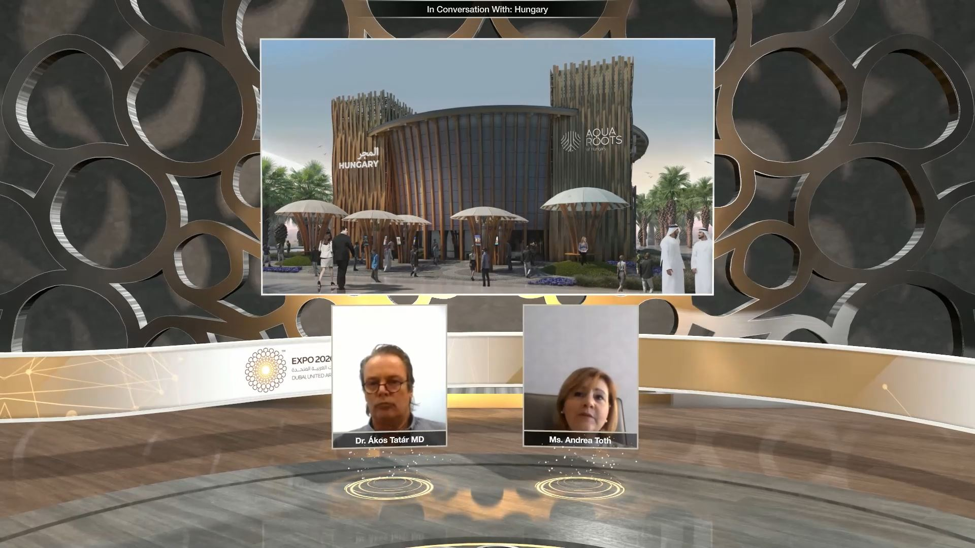 expo 2020 health and wellness week virtual event speakers with a screen