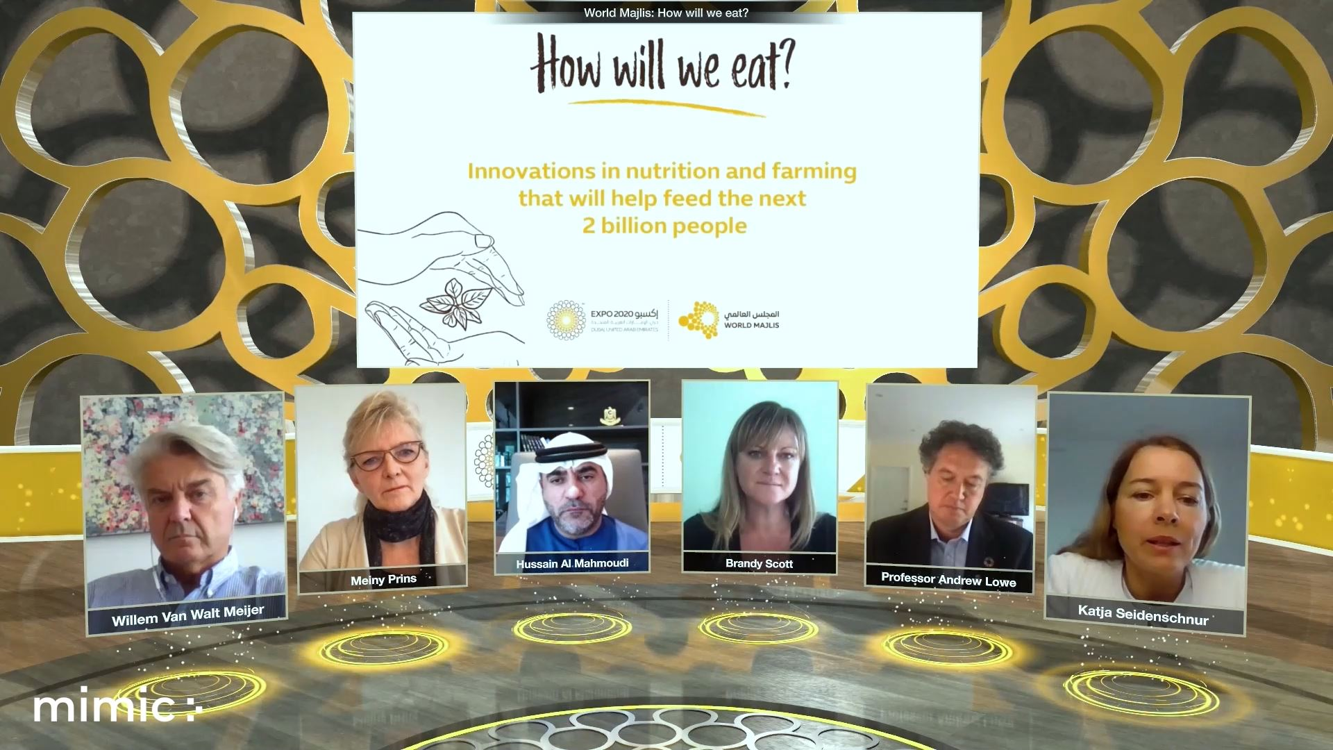 expo 2020 food agriculture livelihoods virtual event panel discussion with screen