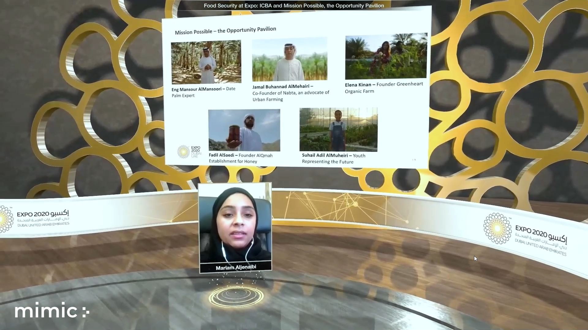 expo 2020 food agriculture livelihoods virtual event presenter with screen