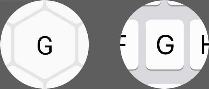 Comparison between a hexagonal key on Typewise smartphone keyboard vs a regular key