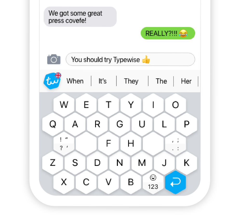 Close up of Typewise smartphone keyboard