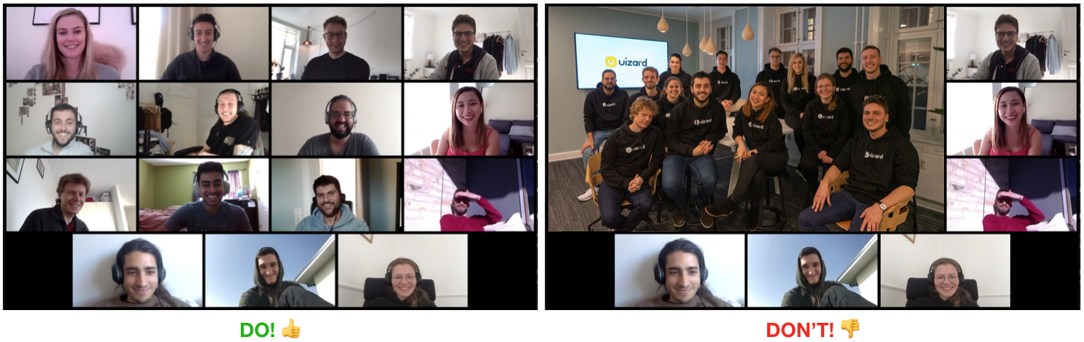 Gathering as a group during video calls sucks for the one working remotely. Don't do that.