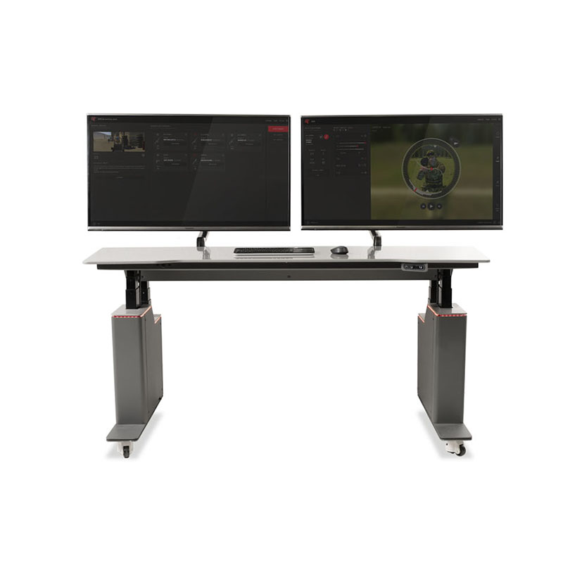 Guard actuated desk with monitors