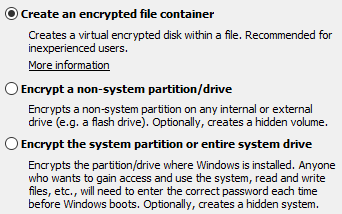 Screen of some options available on Veracrypt to encrypt file