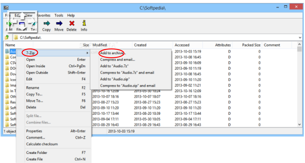 first step to create an encrypted file with 7 Zip