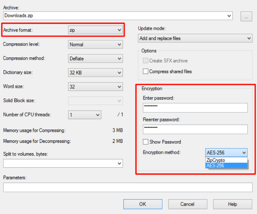 screen of how to insert password to encrypt file