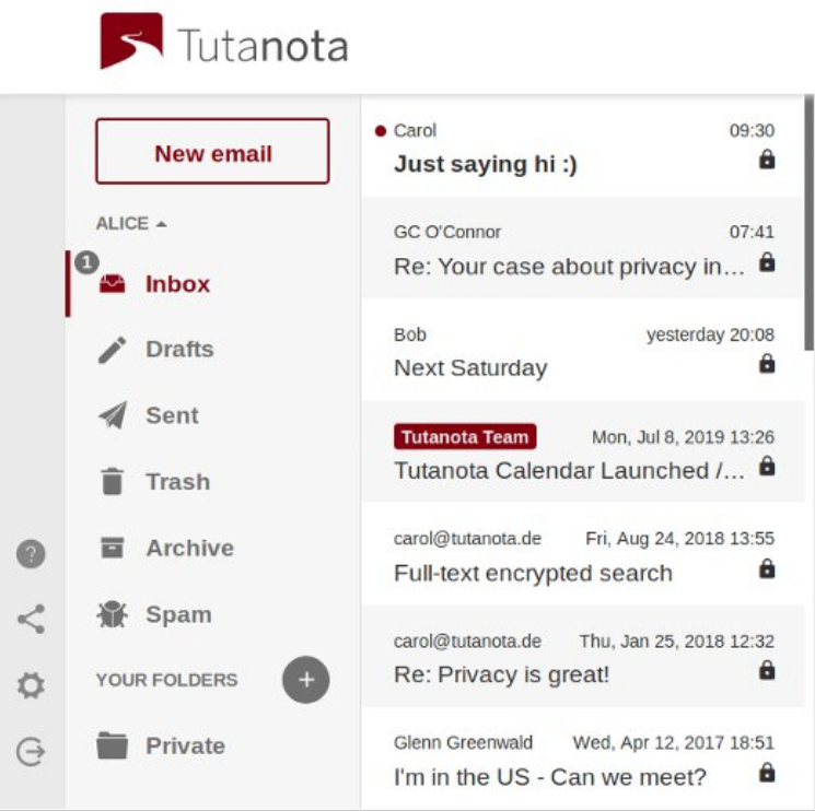 screen of email that are protected by encryption