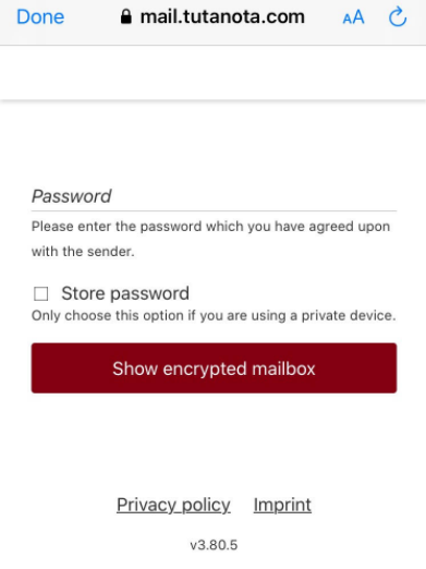 password required to open an encrypted message