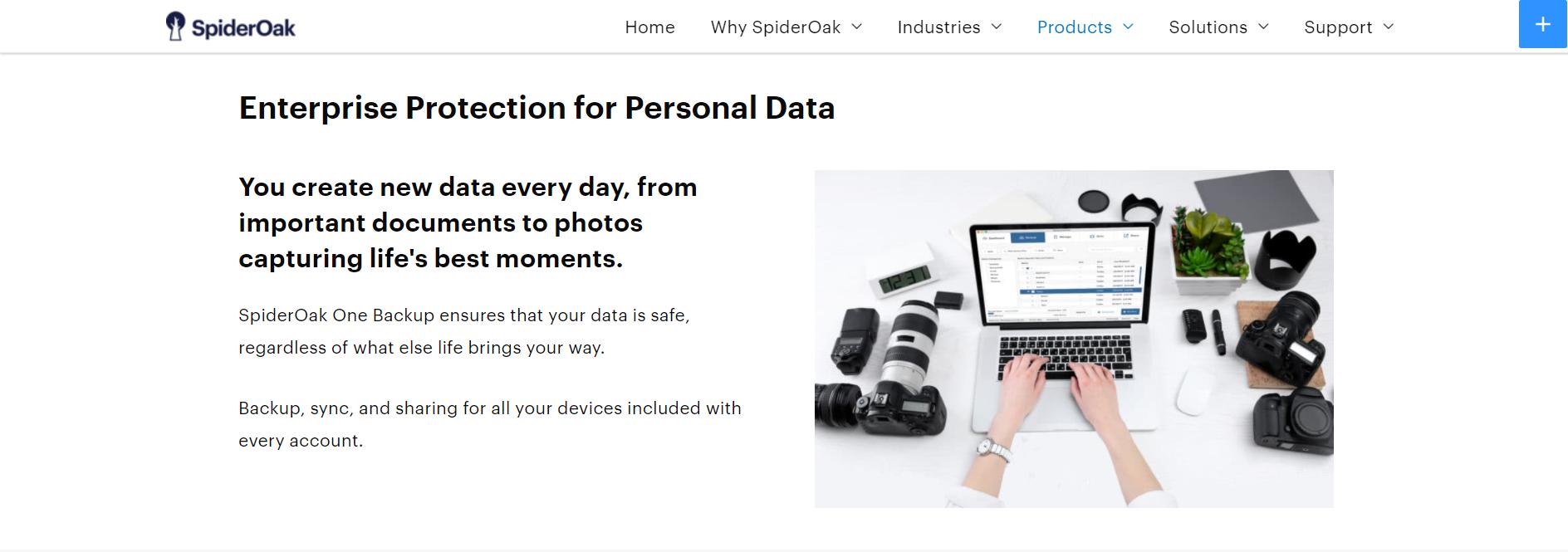spideroak cloud storage product page