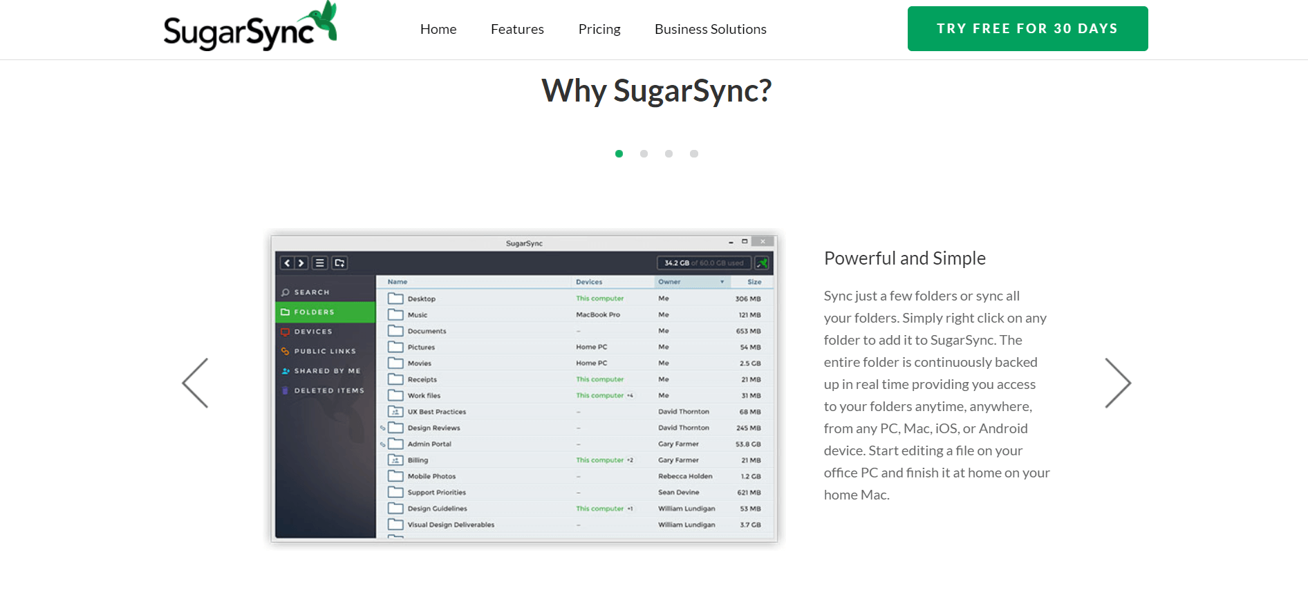 what is SugarSync cloud storage home page