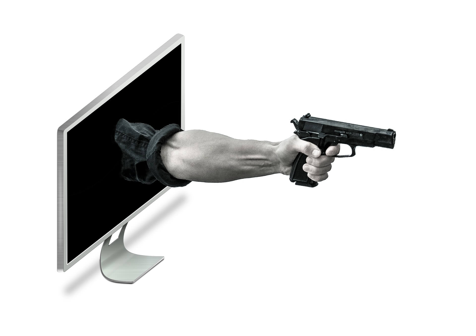cybercrime hand with a gun exits computer screen