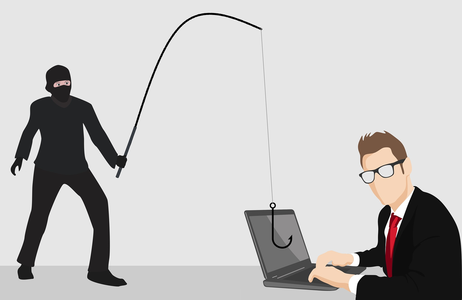 thief with fishing pole pointing at employee with computer