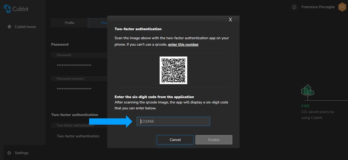 enabling two factor authentication on web app cubbit