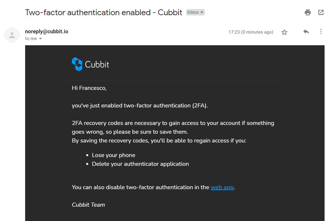 email about two factor authentication enabled - cubbit