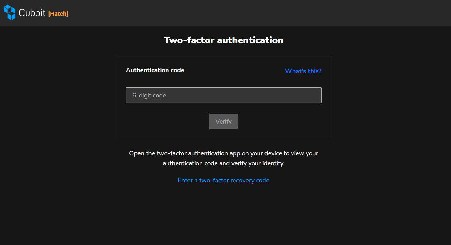log in with two factor authentication in cubbit