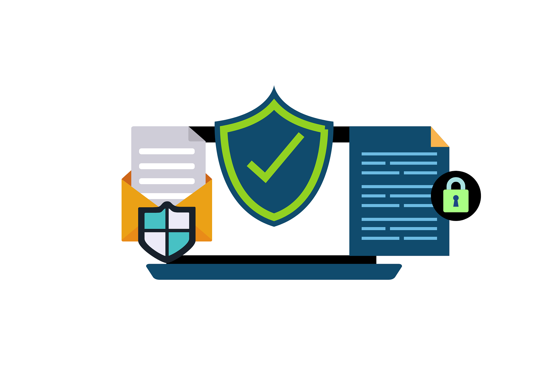 infographic with computer mockup and many security and encryption symbols on documents