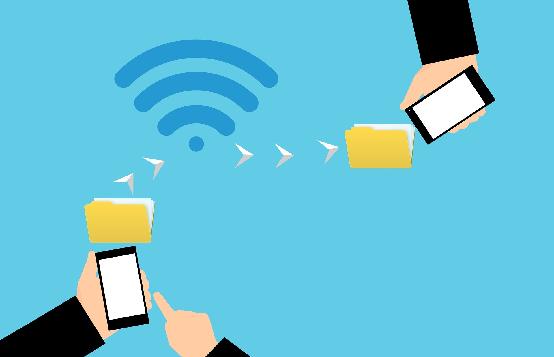 infographic smartphone which sends a folder to another smartphone through wifi