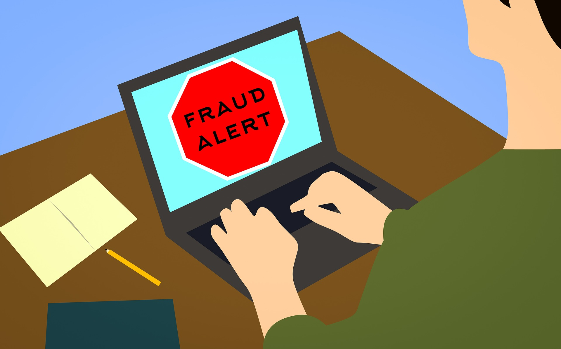infographic person browsing at computer desktop with fraud alert signal